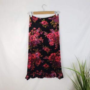 Betsey Johnson Crushed Velvet Floral Skirt Small